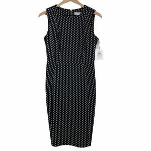 Calvin Klein Sheath Dress Black White Stretchy 6